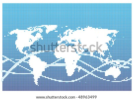 Dot Style World Map With Continents
