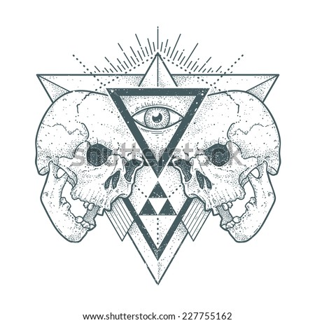 Dot work skull illustration with geometric hipster abstraction. Trendy styled monochrome print. Vector illustration.  - stock vector