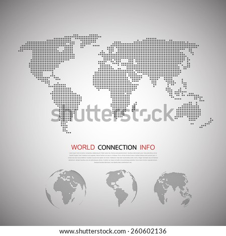 Dot World maps and globes business background. - stock vector