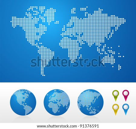 Dot World maps and globes business background. Vector file available. - stock vector