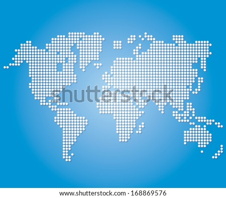 Dot World maps and globes on blue color background. Vector  - stock vector