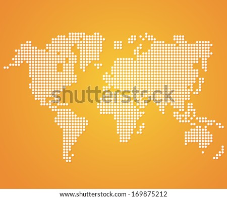 Dot World maps and globes on orange color background. Vector - stock vector