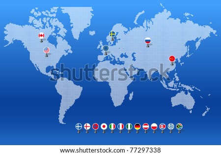 Doted world map with set of different countries flags