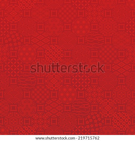 dots background with Japanese traditional design. - stock vector