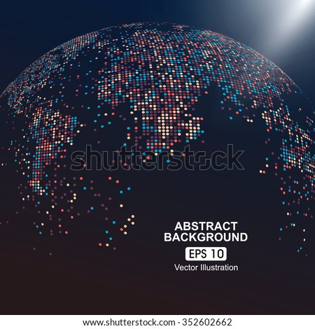 Dots colorful three-dimensional map of the world, abstract graphics. - stock vector