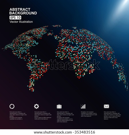 Dots colorful three-dimensional map of the world, infographics,abstract graphics. - stock vector