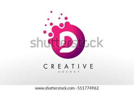 Dots Letter D Logo Design Vector With