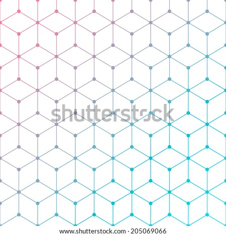 Dots with connections, rectangles light background - stock vector