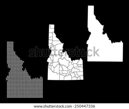 Dotted and Silhouette idaho map  - stock vector