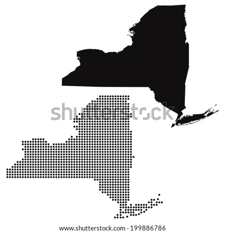 Dotted and Silhouette New york Map - stock vector
