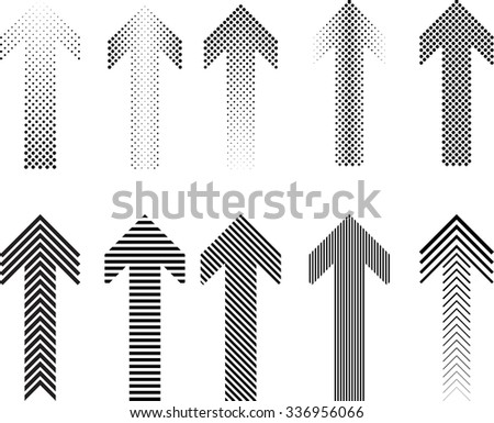 Dotted and Striped Arrow Set . Vector Illustration. - stock vector