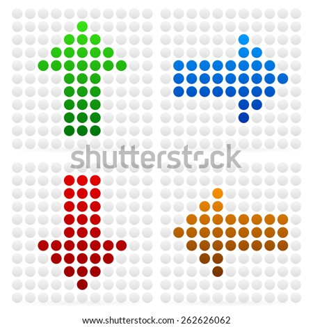 Dotted Arrows Pointing in Different Directions - Up, Down, Left, Right Arrows - stock vector