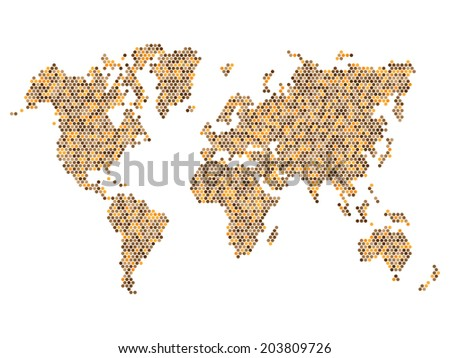 Dotted Beown World Map Isolated on White. Vector illustration - stock vector