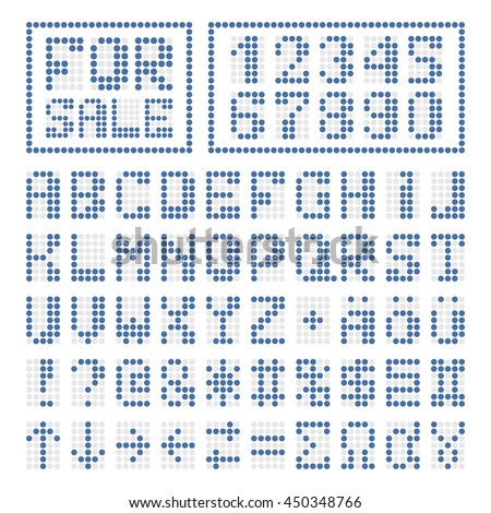 dotted digital font blue alphabet letters and numbers on white some special characters signs