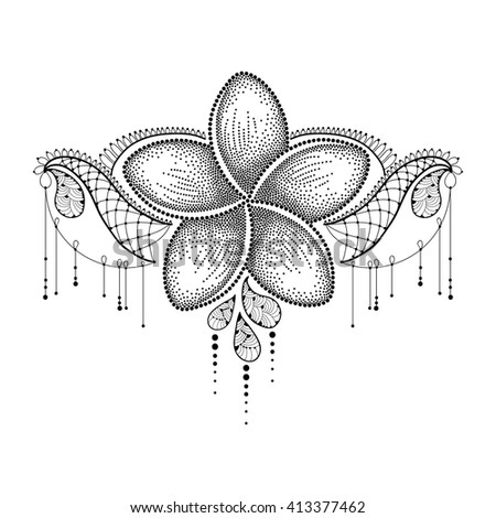 Dotted flower of Plumeria or Frangipani in black with decorative lace isolated on white background. National flower of Laos and Bali. Floral elements in dotwork style for tattoo.  - stock vector