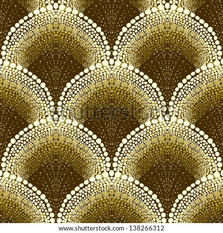Dotted geometric ornament in art deco style in old gold colors. Texture for web, print, wallpaper, decals, fall winter fashion fabric, textile design, background for wedding invitation, holiday decor - stock vector