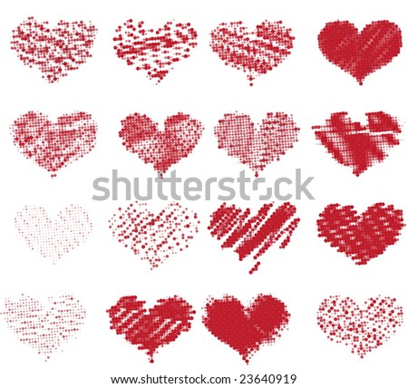 Dotted hearts set - stock vector