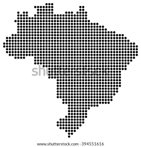 Dotted map - Brazil - stock vector