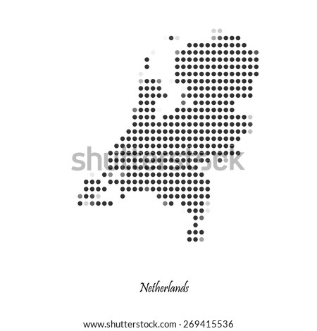 Dotted map of Netherlands for your design, concept Illustration. - stock vector