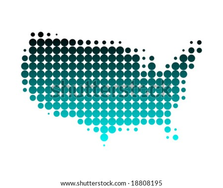Dotted map of the United States - stock vector