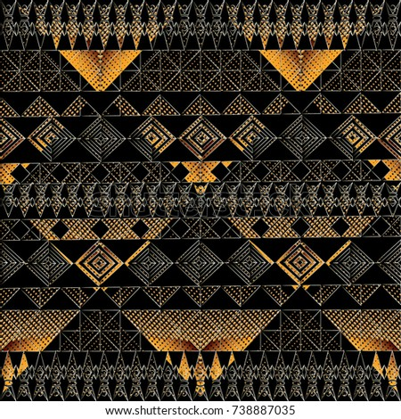Dotted Modern Geometric Vector Seamless Border Pattern Abstract Tribal Geometrical Gold Black Lattice Background Wallpaper