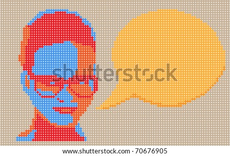 Dotted pop art vector illustration. Talking lady.
