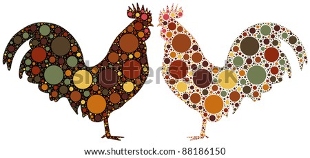 dotted rooster illustration