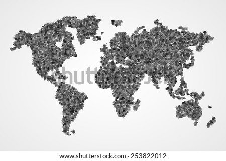 Dotted round monochrome world map. Abstract vector illustration. - stock vector