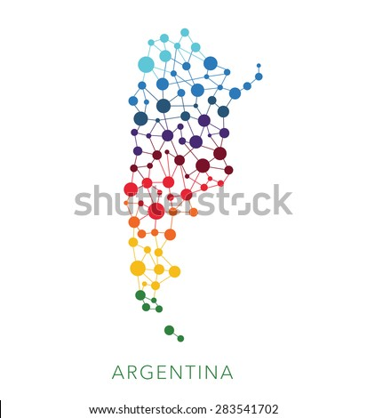dotted texture Argentina vector background on white - stock vector