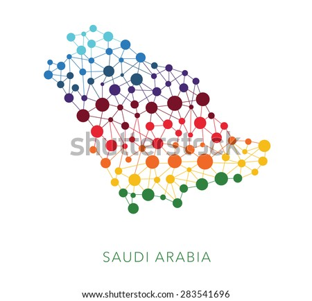 dotted texture Saudi Arabia vector background on white - stock vector