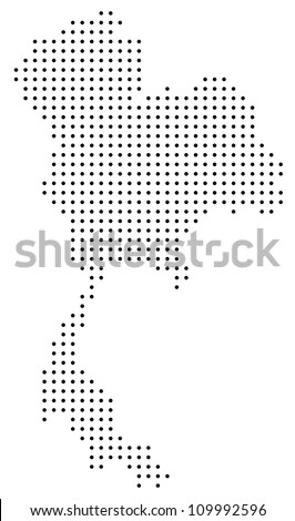 Dotted Thailand map - stock vector