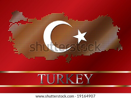 Dotted Turkish flag with original flag elements moon and star. Gold and metallic effects. - stock vector