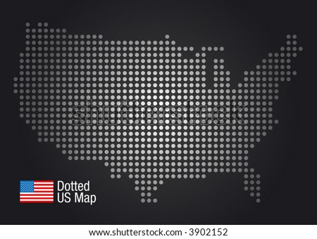 Dotted US Map (US flag included.) - stock vector