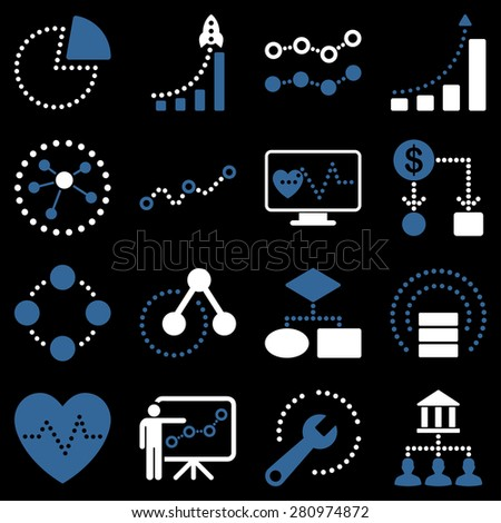Dotted vector infographic business icons. This bicolor vector icon set uses modern corporate light blue and white color scheme. - stock vector
