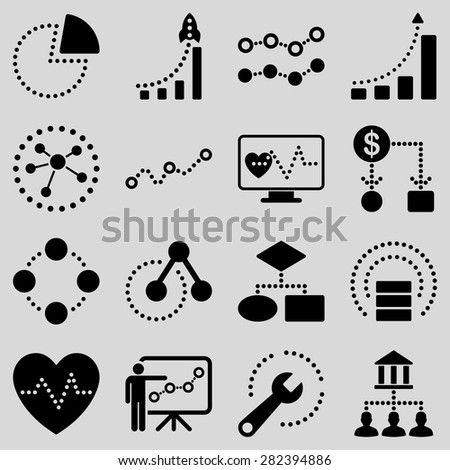 Dotted vector infographic business icons. This vector icon set uses black color and light gray background. - stock vector
