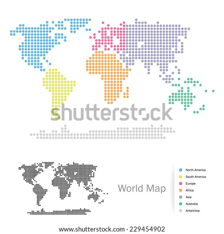 Dotted World Continents map: Africa, Asia, Australia, Europe, North America, South America, Antarctica, split by the seven continents in different colors. Vector file, easy editing. - stock vector