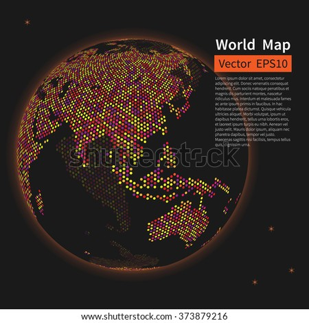 Dotted World Map Background. Night Earth Globe. Globalization Concept. Vector. - stock vector