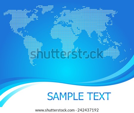 Dotted world map background vector - stock vector