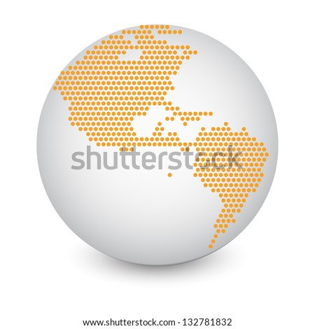 Dotted World Map Globe Made of Circle Shapes. Vector Illustration EPS 10. - stock vector