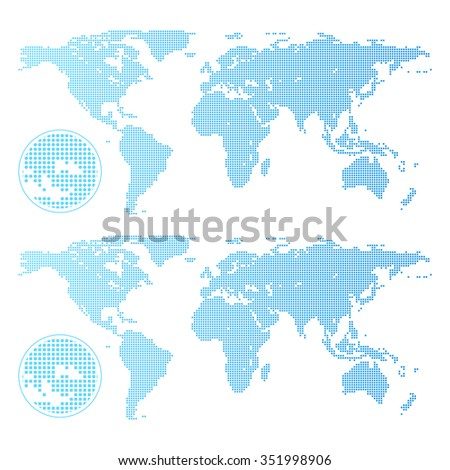 Dotted world map isolated on white - stock vector