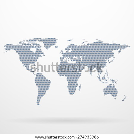 Dotted world map made of circles. Vector illustration - stock vector