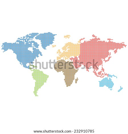 Dotted world map made colored dots vectores en stock 232910785 dotted world map made of colored dots easy to resize and recolor each gumiabroncs Choice Image
