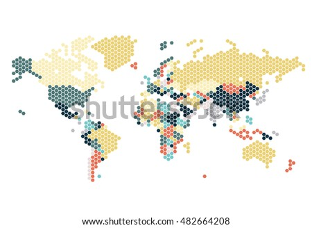 Dotted world map hexagonal dots on stock vector 2018 482664208 dotted world map of hexagonal dots on white background vector illustration gumiabroncs Image collections