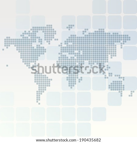 Dotted world map of rounded rectangles - stock vector