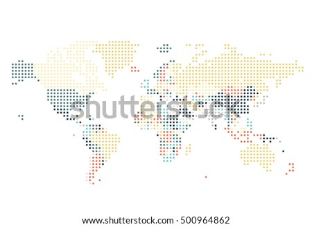 Dotted world map square dots on stock vector 492497827 shutterstock dotted world map of square dots on white background vector illustration gumiabroncs Images