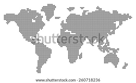 Dotted world map. Vector illustration. Conceptual illustration. Isolated on white background - stock vector