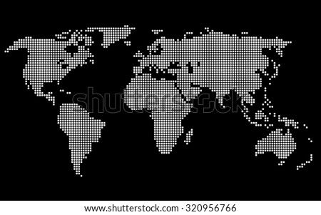 Dotted World Map. White on Black Background. Vector - stock vector