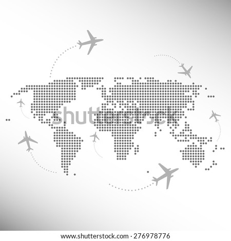 dotted world map with aircrafts - stock vector