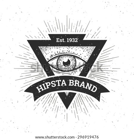 Dotwork hipster banner. Triangle shape with eye and ribbon. Vector art. - stock vector