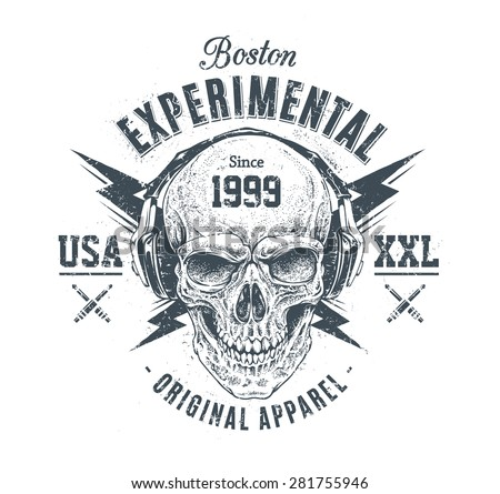 Dotwork style skull with headphones and lightnings. Grunge print template. Vector art. - stock vector